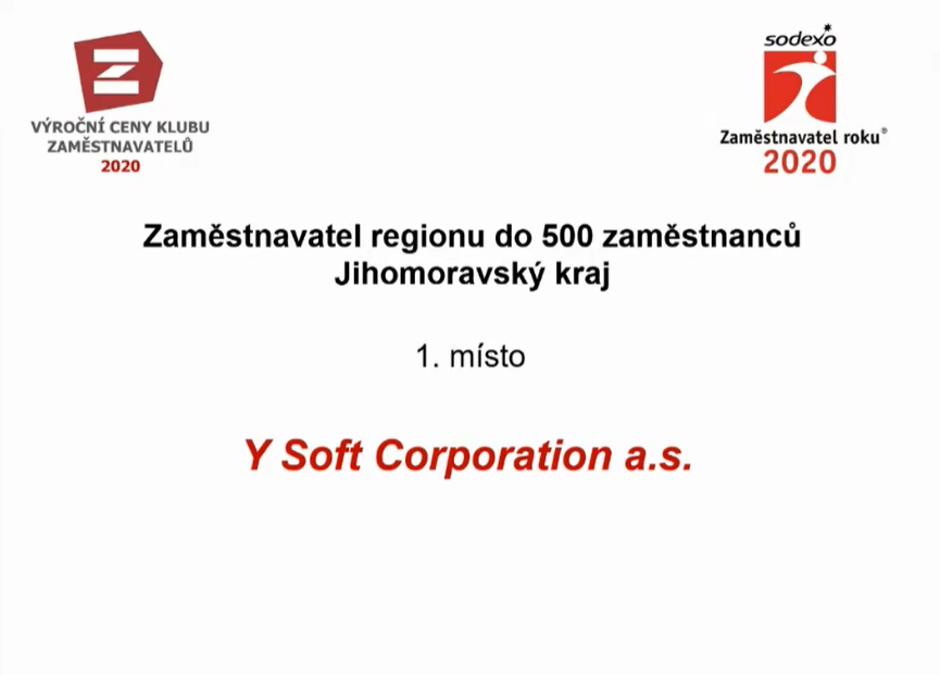 Y Soft zaměstnavatelem roku 2020 v regionu